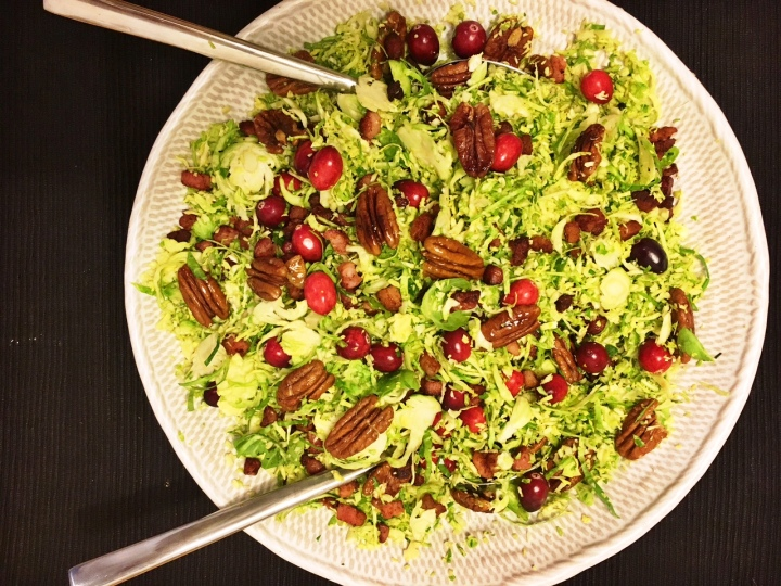 Shredded Brussels sprouts with crispy pancetta & glazed pecans
