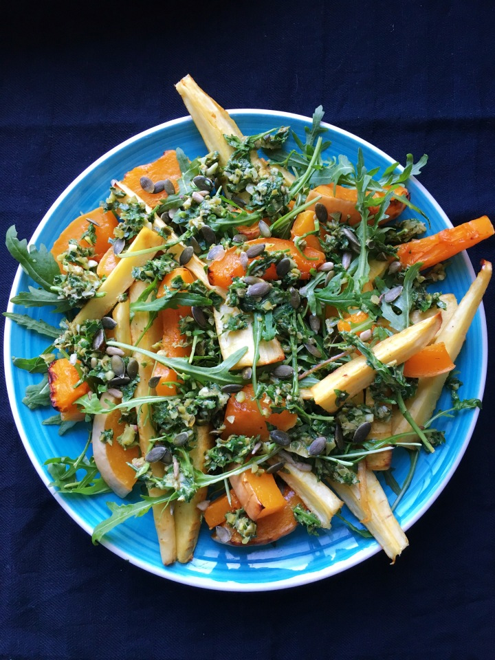 Honey roast vegetables with a chunky salsa verde